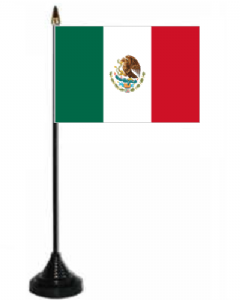 Mexico Desk / Table Flag with plastic stand and base.